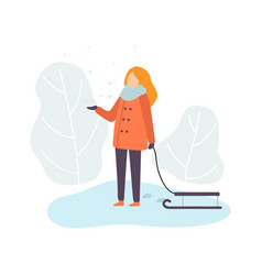 girl wearing warm winter clothes standing with vector image