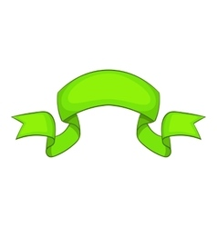 Green ribbon icon cartoon style vector