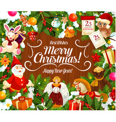 greeting card with merry christmas wish and gifts vector image