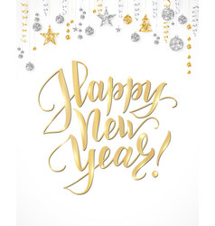 happy new year card with hand written lettering vector image