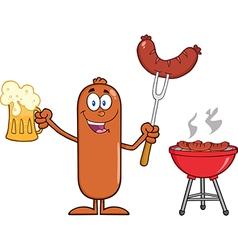 Happy Sausage Cartoon Enjoying a Barbeque vector