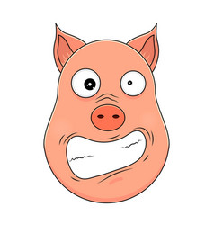 head of hysterical pig in cartoon style kawaii vector image