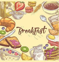 Healthy breakfast hand drawn design with sandwich vector
