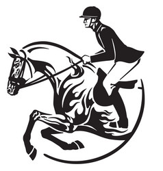 horse show jumping logo vector image