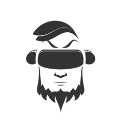icon of man with beard in virtual reality helmet vector image