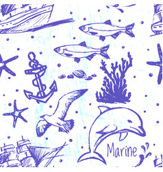 ink hand drawn marine world seamless pattern vector image