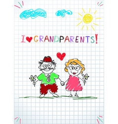 kids pencil hand drawn greeting card with grandpa vector image