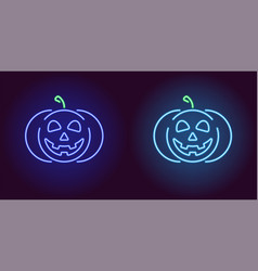 Kind neon pumpkin in blue and light blue color vector