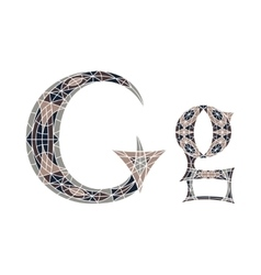 Low poly letter G in brown mosaic polygon vector