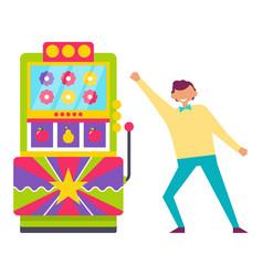 Man playing vintage arcade game machine vector