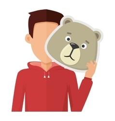 Man with Bear Mask Flat Design vector