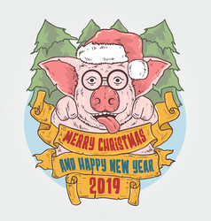 merry christmas and happy new year mr piggy vector image