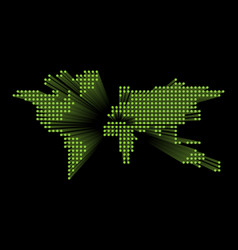 modern dotted world map green futuristic vector image