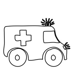 Monochrome hand drawn contour of ambulance vector