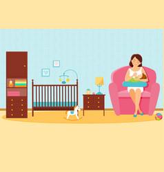 mother feeds her baby in baby room vector image