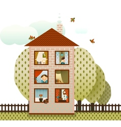 Neighbors in the Village House vector