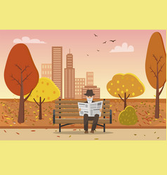 old man with newspaper in hands on bench vector image