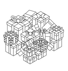 outline lineart gift box pile isolated object vector image
