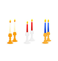 pair of candlesticks set vector image