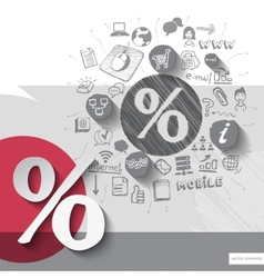 Paper and hand drawn discount emblem with icons vector