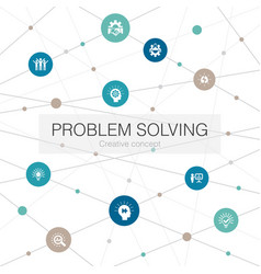 Problem solving trendy web template with simple vector