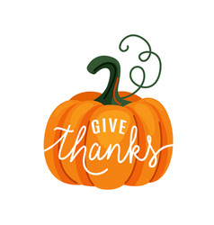 Pumpkin with give thanks text vector