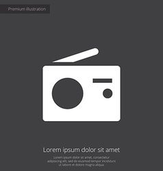 radio premium icon white on dark background vector image