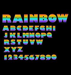 rainbow massive font upper case in vivid colors vector image