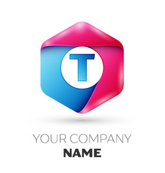 Realistic letter t in colorful hexagonal vector