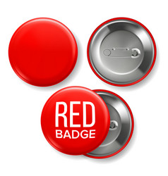 Red badge mockup pin brooch red button vector