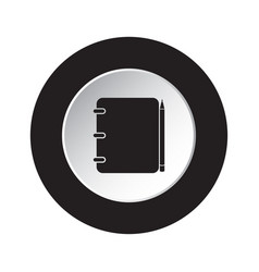 Round black white button icon-notepad with pencil vector