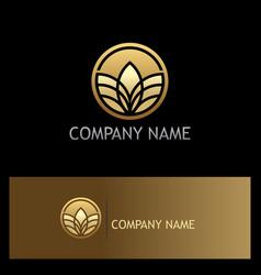 round golden leaf organic logo vector image