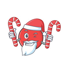 Santa bowling ball character cartoon with candy vector