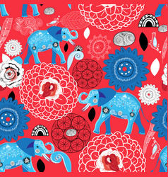 seamless bright pattern blue elephants vector image