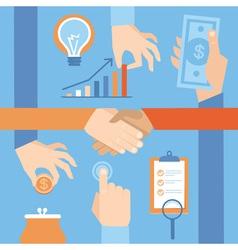 Set hands - clients purchasing work in flat ret vector
