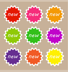 set of colorful new labels in flat design vector image