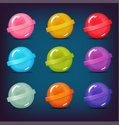 set of lollipop candies of different colors vector image
