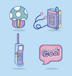 set of pop art cartoons vector image
