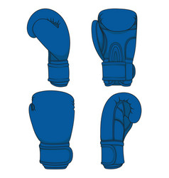set of with blue boxing gloves vector image