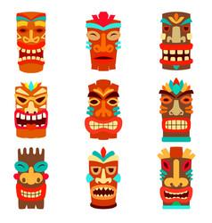 set tiki statues in cartoon style design vector image