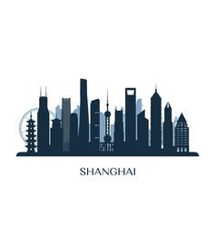 Shanghai skyline monochrome silhouette vector