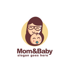 Simple happy mother and child logo vector