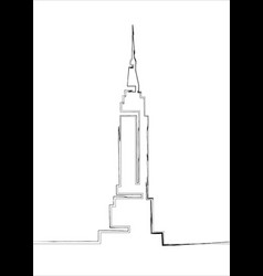single line sketch empire state building line art vector image
