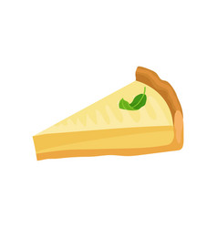 Slice of cheesecake with green leaf on top tasty vector