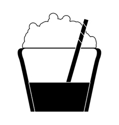 Smoothie with whipped cream and straw icon image vector