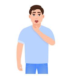 Sore throat the guy has health problems a cartoon vector