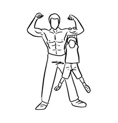 strong father with his son sketch vector image