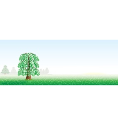 summer landscape with a tree vector image