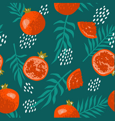 Summer pattern with pomegranates flowers vector