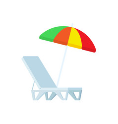 sunbed and umbrella icons chaise-lounge vector image